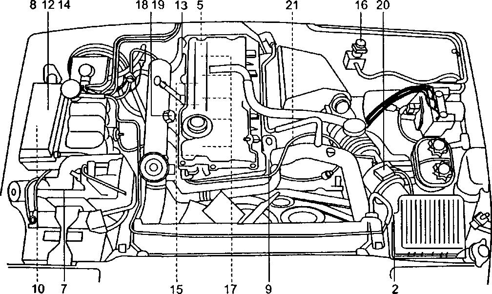 Размещение компонентов ЭСУД «Lucas» на кузове Land Rover Discovery