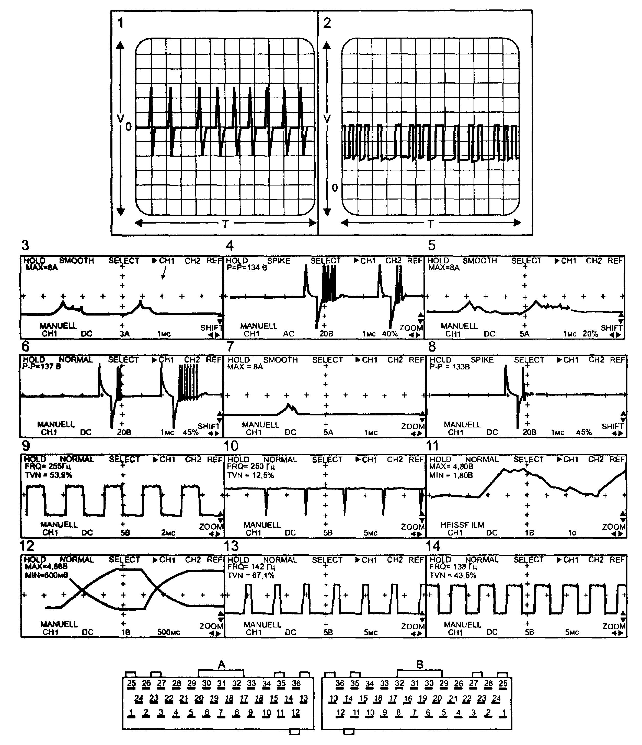 Осциллограммы в контрольных точках и разъем ЕСМ «Lucas»